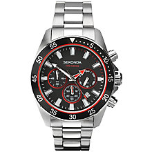 Buy Sekonda 1088.27 Men's Chronograph Stainless Steel Bracelet Watch, Silver Online at johnlewis.com