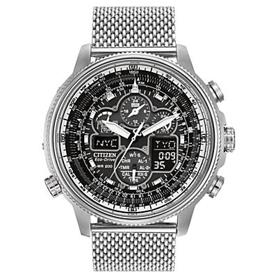 Citizen JY803083E Mens Navihawk AT Alarm Chronograph Radio Controlled EcoDrive Watch Silver