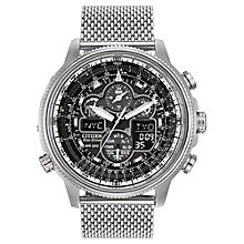 Buy Citizen JY8030-83E Men's Navihawk Chronograph Stainless Steel Strap Watch, Silver Online at johnlewis.com