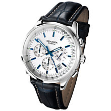 Buy Sekonda 3461.27 Men's Chronograph Leather Strap Watch, Dark Blue/White Online at johnlewis.com