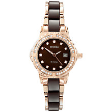 Buy Sekonda 4892.27 Women's Crystal Stainless Steel Bracelet Strap Watch, Rose Gold/Black Online at johnlewis.com