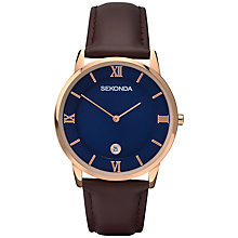 Buy Sekonda 1091.27 Men's Rose Gold Plated Stainless Steel Leather Strap Watch, Rose Gold Online at johnlewis.com