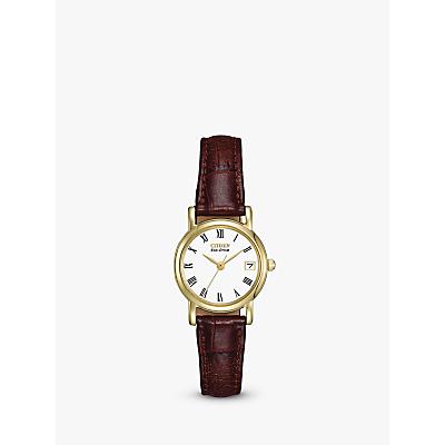 Citizen EW1272-01B Women's Eco-Drive Leather Strap Watch, Brown/White