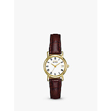 Buy Citizen EW1272-01B Women's Eco-Drive Leather Strap Watch, Brown/Gold Online at johnlewis.com