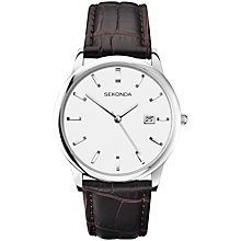 Buy Sekonda 1010.27 Men's Leather Strap Watch, Brown Online at johnlewis.com