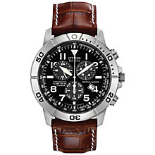 Buy Citizen BL5250-02L Men's Chronograph Titanium Leather Strap Watch, Brown/Black Online at johnlewis.com