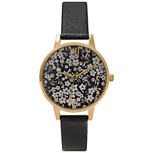 Buy Olivia Burton OB15DP01 Women's Ditsy Leather Strap Watch, Black Online at johnlewis.com