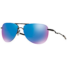 Buy Oakley OO4086 Tailpin Polarised Aviator Sunglasses, Black/Blue Online at johnlewis.com