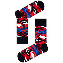 Buy Happy Socks Camouflage Print Socks, One Size, Red Online at johnlewis.com