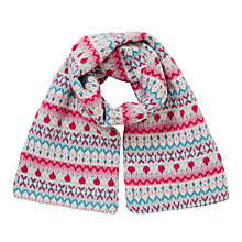 Buy John Lewis Pretty Fair Isle Scarf, Pink Online at johnlewis.com