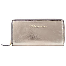 Buy John Lewis Hayley Leather Slogan Purse, 'Hold On To Me,' Gunmetal Online at johnlewis.com