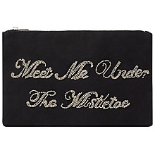 Buy Collection WEEKEND by John Lewis Mistletoe Slogan Clutch, Navy Online at johnlewis.com