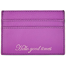 Buy John Lewis Hayley Leather Slogan Card Holder, 'Hello Good Times,'Purple Online at johnlewis.com
