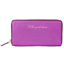Buy John Lewis Hayley Leather Slogan Purse, 'Hello Good Times,' Purple Online at johnlewis.com
