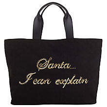 Buy Collection WEEKEND by John Lewis Slogan Tote Santa, Black Online at johnlewis.com