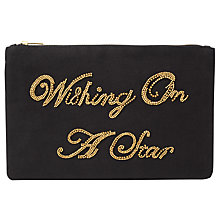Buy Collection WEEKEND by John Lewis Wishing Slogan Clutch, Black Online at johnlewis.com
