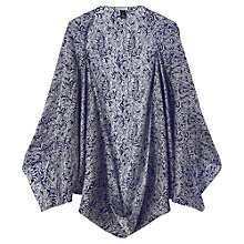 Buy Jigsaw Baroque Fern Print Cocoon Cape, Navy Online at johnlewis.com