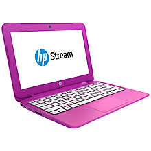 "Buy HP Stream 11-d011na Laptop, Intel Celeron, 2GB RAM, 32GB Flash Storage, Windows 8.1 & Office 365, 11.6"", Orchid Magenta + HP Deskjet 2540 All-in-One Printer Online at johnlewis.com"