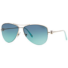 Buy Tiffany & Co TF3021 Pilot Polarised Sunglasses, Silver Online at johnlewis.com
