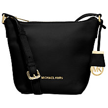 Buy MICHAEL Michael Kors Bedford Small Leather Messenger Bag, Black Online at johnlewis.com