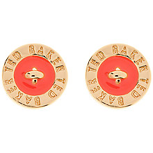 Buy Ted Baker Tempany Enamel Logo Earrings, Orange Online at johnlewis.com