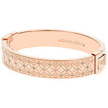 Buy Michael Kors Clear Crystal Monogram Hinged Bracelet, Rose Gold Online at johnlewis.com