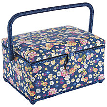 Buy John Lewis Cottage Floral Print Medium Sewing Basket, Blue Online at johnlewis.com