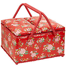 Buy John Lewis Twin Lid Floral Sewing Basket, Red Online at johnlewis.com