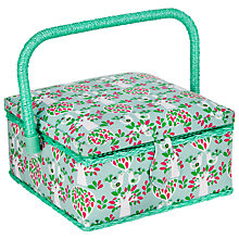 Buy John Lewis Folky Bird Print Small Sewing Basket, Teal Online at johnlewis.com