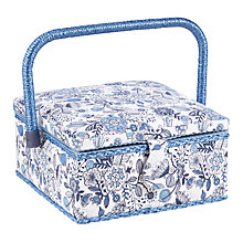 Buy John Lewis Squiggles Small Sewing Basket, Blue Online at johnlewis.com