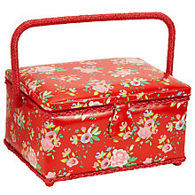 Buy John Lewis Medium Floral Sewing Storage Box, Red Online at johnlewis.com