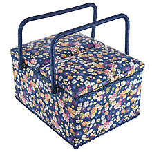 Buy John Lewis Cottage Floral Print Twin Lid Sewing Basket, Blue Online at johnlewis.com