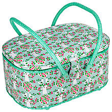 Buy John Lewis Folky Bird Print Oval Sewing Basket, Teal Online at johnlewis.com