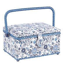 Buy John Lewis Squiggles Medium Sewing Basket, Blue Online at johnlewis.com