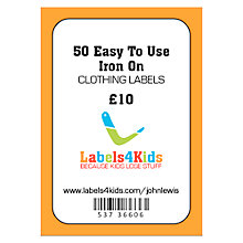 Buy Labels4Kids Easy To Use Iron On Clothing Labels, Pack of 50 Online at johnlewis.com