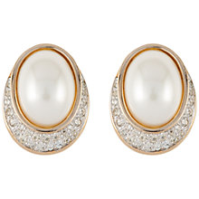 Buy Susan Caplan Vintage Bridal 1980s Panetta Gold Plated Faux Pearl Swarovski Crystal Clip-On Earrings, Pearl Online at johnlewis.com