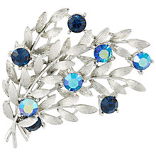 Buy Susan Caplan Vintage Bridal 1960s Lisner Silver Plated Swarovski Crystal Flower Brooch, Silver/Blue Online at johnlewis.com