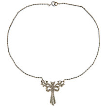 Buy Susan Caplan Vintage Bridal 1940s Silver Plated Marcasite Bow Necklace, Silver Online at johnlewis.com
