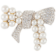 Buy Susan Caplan Vintage Bridal 1970s Silver Plated Faux Pearl Swarovski Crystal Bow Brooch, Silver/Pearl Online at johnlewis.com