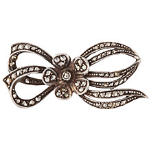 Buy Susan Caplan Vintage Bridal 1940s Sterling Silver Marcasite Bow Brooch, Silver Online at johnlewis.com