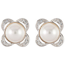 Buy Susan Caplan Vintage Bridal 1960s Attwood & Sawyer Silver Plated Faux Pearl Swarovski Crystal Clip-On Earrings, Silver Online at johnlewis.com