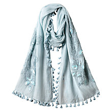 Buy East French Knot Pompom Scarf, Blue Online at johnlewis.com