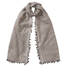 Buy East Silk-Blend Handblock Print Scarf, Dark Dove Online at johnlewis.com