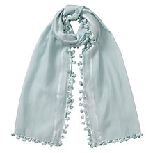 Buy East Silk Blend Pom Pom Scarf, Sky Online at johnlewis.com
