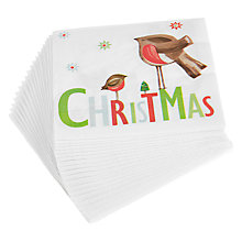 Buy John Lewis Christmas Robin Paper Napkins, Pack of 20 Online at johnlewis.com