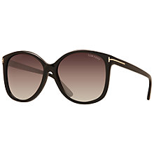 Buy TOM FORD FT0275 Alicia Round Framed Sunglasses, Black/Brown Online at johnlewis.com