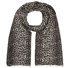 Buy John Lewis Winter Leopard Print Scarf, Black/Grey Online at johnlewis.com