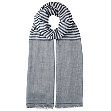 Buy John Lewis Jacquard Stripe Scarf, Charcoal Online at johnlewis.com