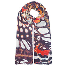 Buy John Lewis Wool Silk Blend Large Butterfly Scarf, Brown/Multi Online at johnlewis.com