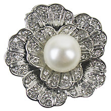 Buy Large Flower Crystal and Pearl Button, 34mm, Silver Online at johnlewis.com